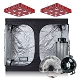 BloomGrow 2PCS LED1800W Grow Light + 96''X48''X80'' Grow Tent + 8'' Fan Filter Ducting Combo for Grow Tent Kit Complete Ventilation System (2XLED1800W+96''X48''X80''+8'' Filter Combo)