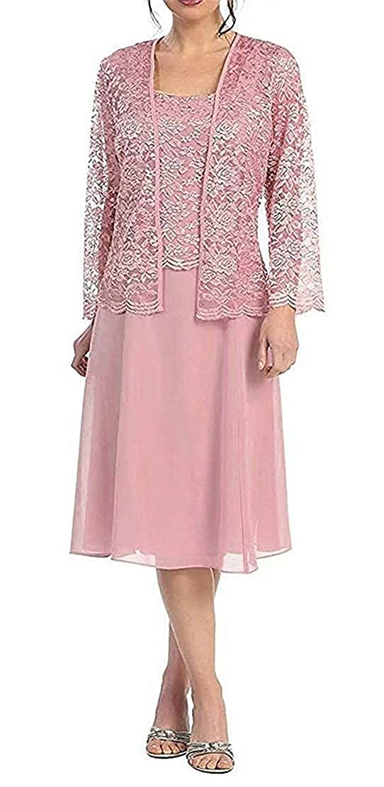 bluesh Short Mother of The Bride Dress Lace Long Sleeve Evening Gown Mother Dresses with Jacket