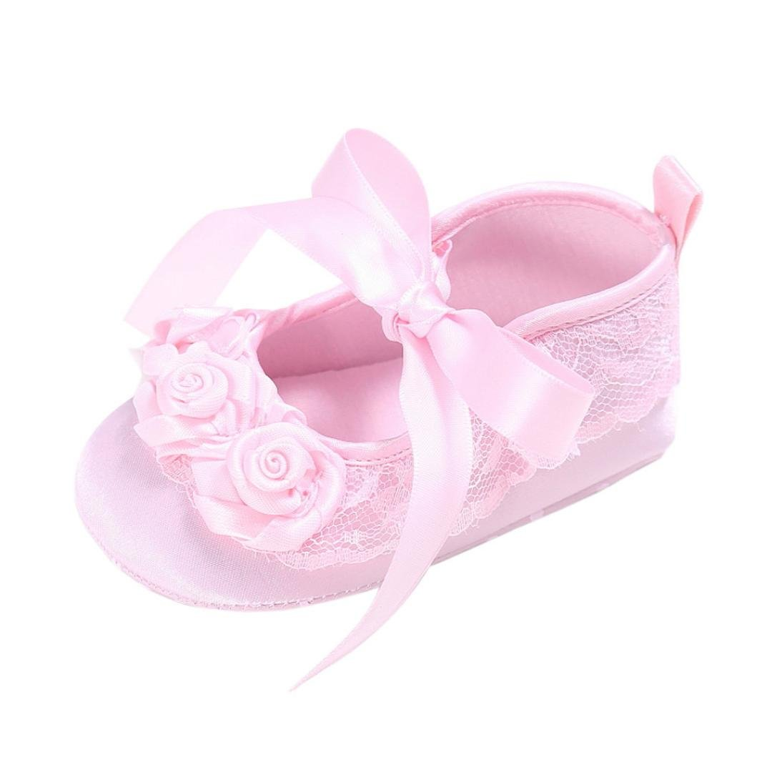 Elevin(TM)2017Summer Baby Girls Flower Crib Soft Sole Flat Sneakers Sandals Shoes
