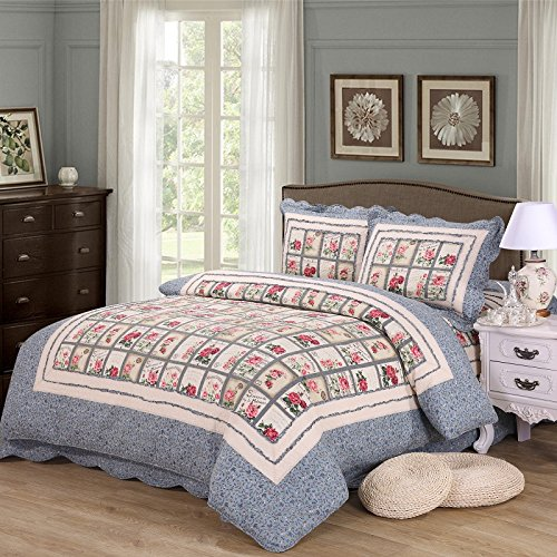 Country Christmas Quilt (Alicemall Country Floral Quilts Set Blue Bordered Red Rose Flower Print Patchwork 3-Piece Bedspreads Set, Pastoral Bedding Set for Kids and Adults, King Size (1 Quilt and 2 Pillowcases))