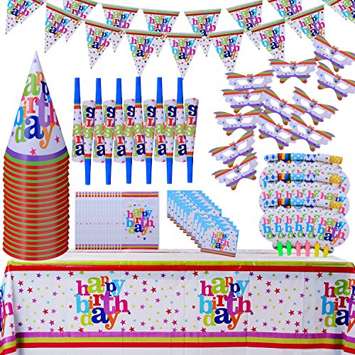 Children Birthday Party Decoration Supply Packs(111 PCs) Happy Assorted Set Party Favors, Eye Masks;Trumpets;Blowouts;Hats;Invitation Cards;Gift Bags; Tablecloths;Triangle Banners;(For 18 Guest) - Food Related Costume Ideas