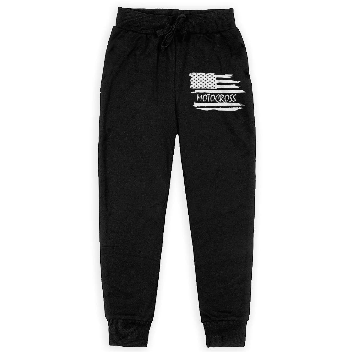 WYZVK22 Motocross American Flag Soft//Cozy Sweatpants Boys Fleece Pants for Teenager Boys