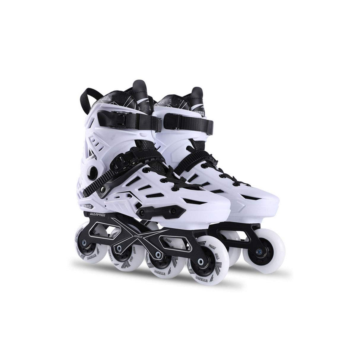 Hengxiang Fitness Inline Skates, Kid's Outdoor Skates,One-Piece Luxury Aluminum Alloy Laser Engraving Bracket, PP Impact Resistant Material, Excellent Gift for Teenagers, Black Workout Roller Skates