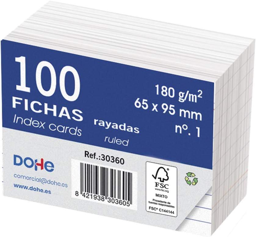 Dohe 30360 - Pack de 100 fichas rayadas de cartulina blanca, 180 g, nº 1, 65 x 95 mm
