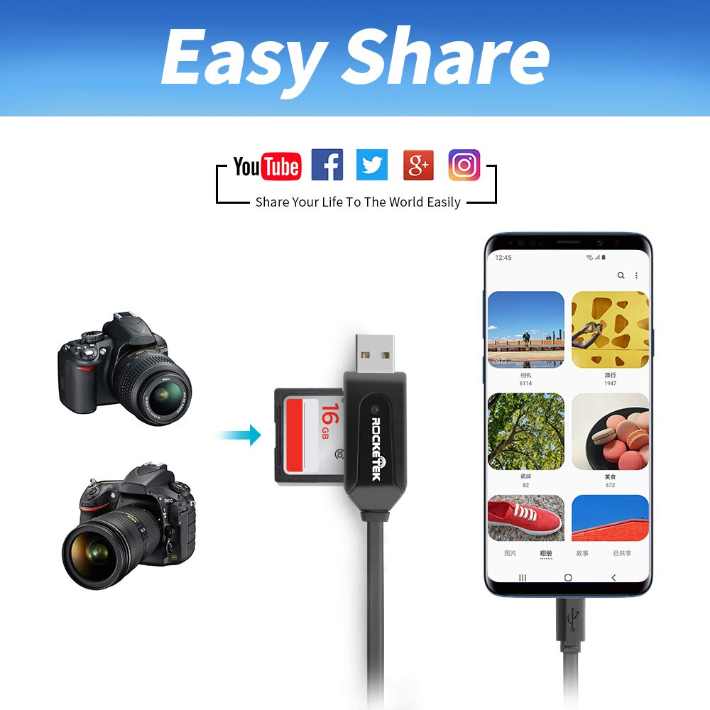 Micro SD to Type C USB Adapter Rocketek USB C Portable Card Reader for Micro SD Cards