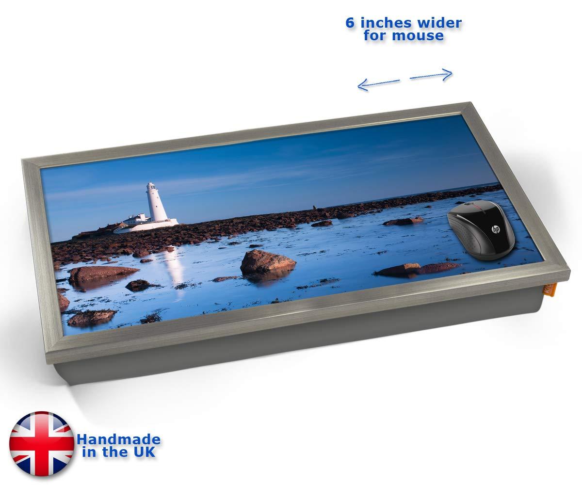 KICO Lighthouse Rocks Coast Sea Seaside View Cushioned Bean Bag Laptop Lap Tray Desk - Built-in EMF Shield (Electro Magnetic Field) - Chrome Effect Frame