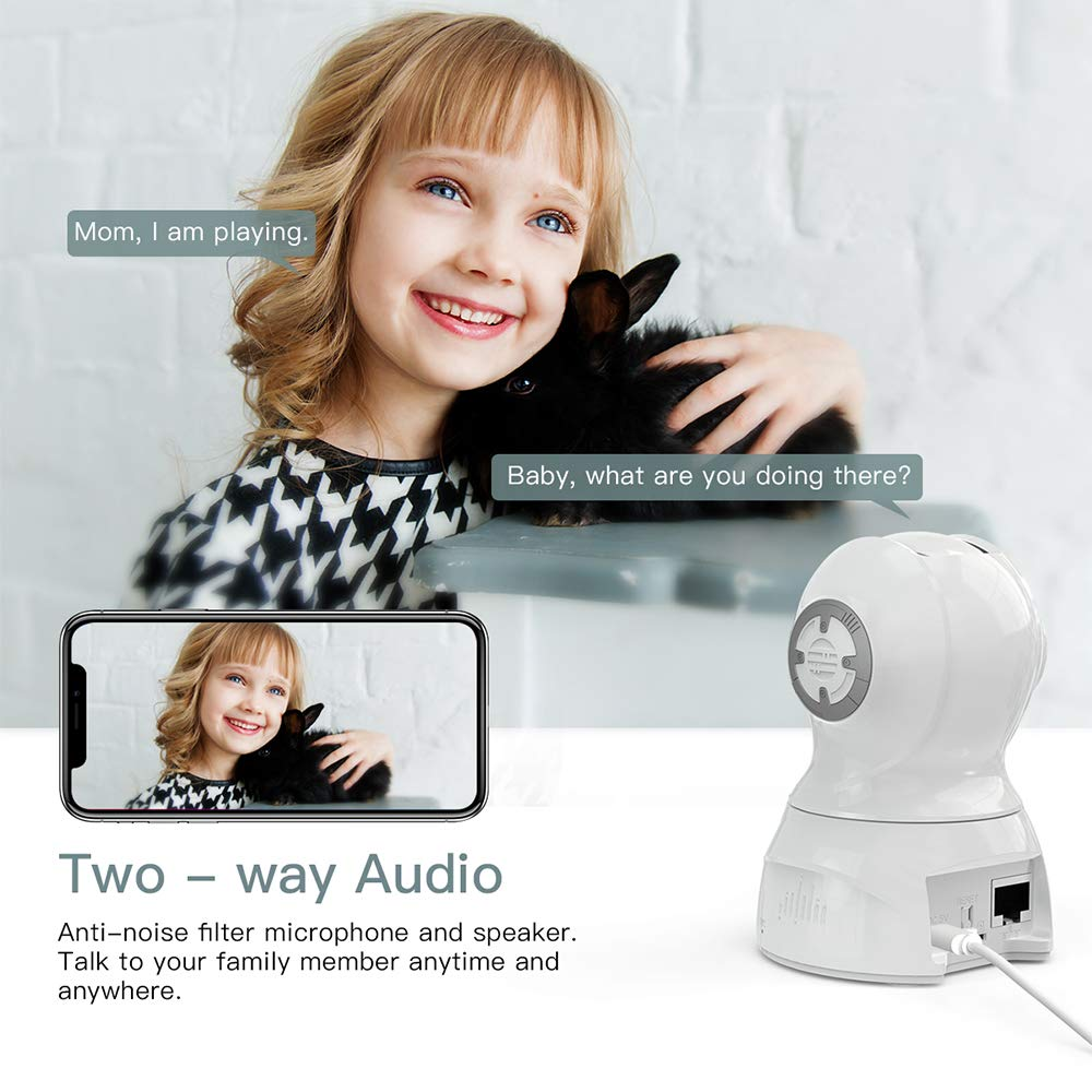 CACAGOO Video Baby Monitor, Security WiFi IP Camera 1080P, Indoor Home  Wireless Camera with Motion Detection Night Vision with 2-Way Audio for