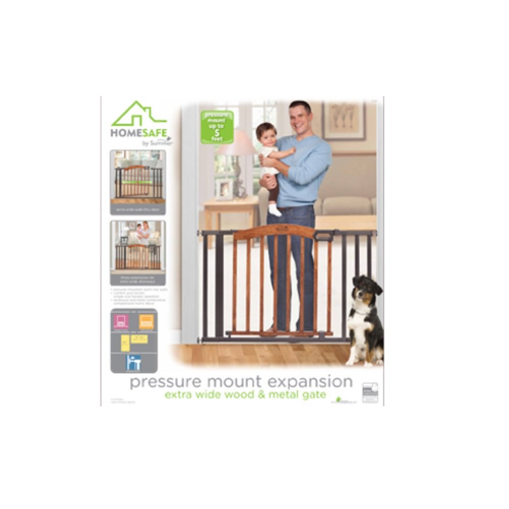 Home Safe Pressure Mount Expansion Extra Wide Wood and Metal Gate by Summer Infant
