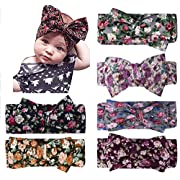 Fasker 6 Pack Baby Girl Headband Turban Knotted Headwraps for Newborn & Toddlers