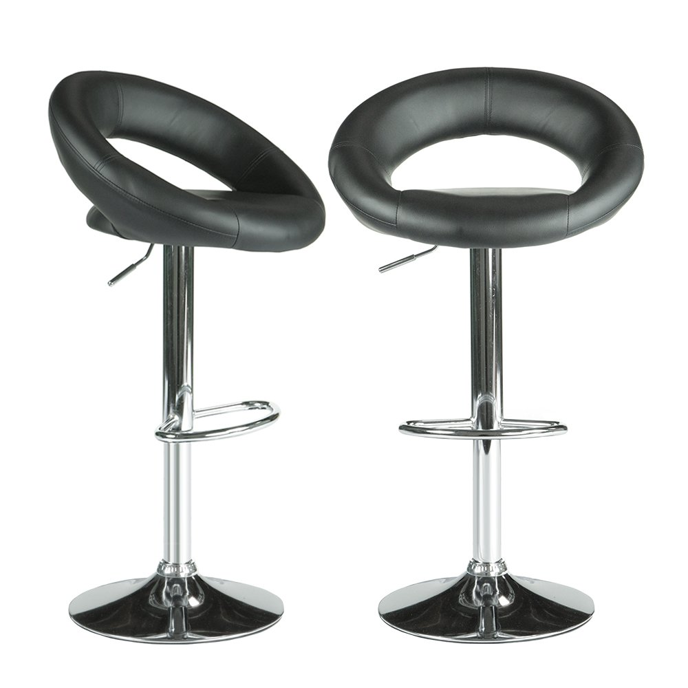 PARTYSAVING Modern Round Bar Stool PU Leather 360 Degree Swivel Height Adjustable Chairs Set of 2 APL1324 Jet Black