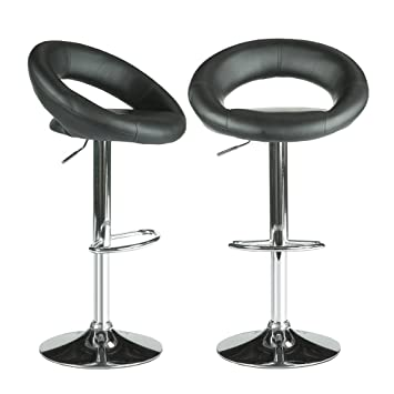 Stupendous Partysaving Modern Round Bar Stool Pu Leather 360 Degree Swivel Height Adjustable Chairs Set Of 2 Apl1324 Jet Black Pabps2019 Chair Design Images Pabps2019Com