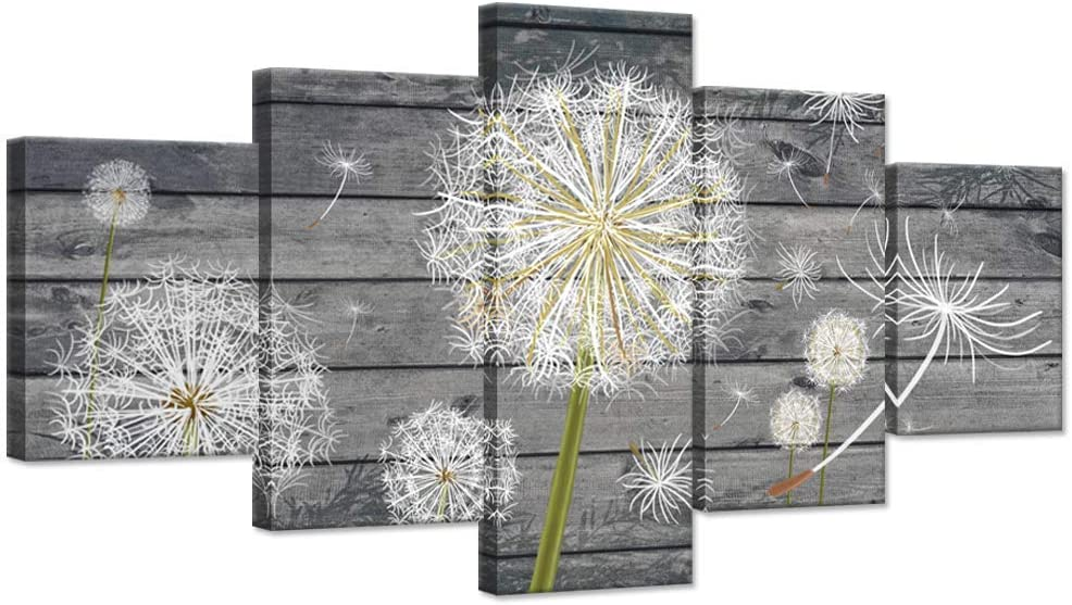 Hello Artwork 5 Panle Large Canavs Wall Art Dandelion White Flower on Vintage Grey Wood Board Background Rustic Style Neutral Grey Floral Wall Decor Home Walls Stretched Framed Ready to Hang