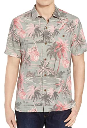 0aa7b9cb Image Unavailable. Image not available for. Color: Tommy Bahama Island Zone  Puerto Palms Silk Blend Camp Shirt (Color: Dusty Thyme,