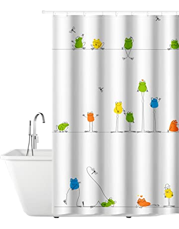 Tatkraft Funny Frogs Cortina de Baño Peva 180X180cm con 12 Anillos 100% Impermeable Resistente al