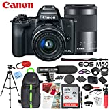 Canon EOS M50 Mirrorless Camera w/ 4K Video EF-M 15-45mm and EF-M 55-200mm Lens Deluxe 32GB Triple Battery Bundle with Shotgun Mic, Backpack, Tripod and More