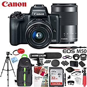 Canon EOS M50 Mirrorless Camera w/4K Video EF-M 15-45mm and EF-M 55-200mm Lens Deluxe 32GB Triple Battery Bundle with Shotgun Mic, Backpack, Tripod and More