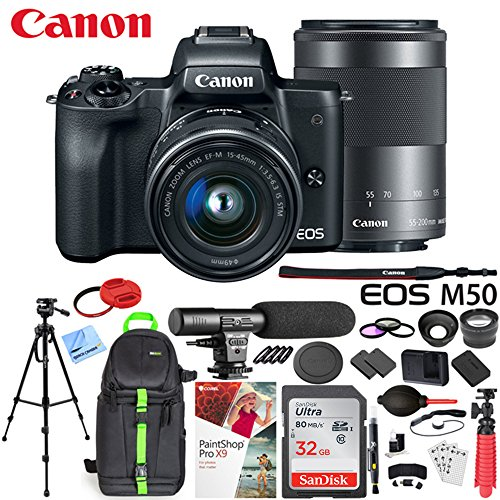 - Canon EOS M50 Mirrorless Camera w/ 4K Video EF-M 15-45mm and EF-M 55-200mm Lens Deluxe 32GB Triple Battery Bundle with Shotgun Mic, Backpack, Tripod and More