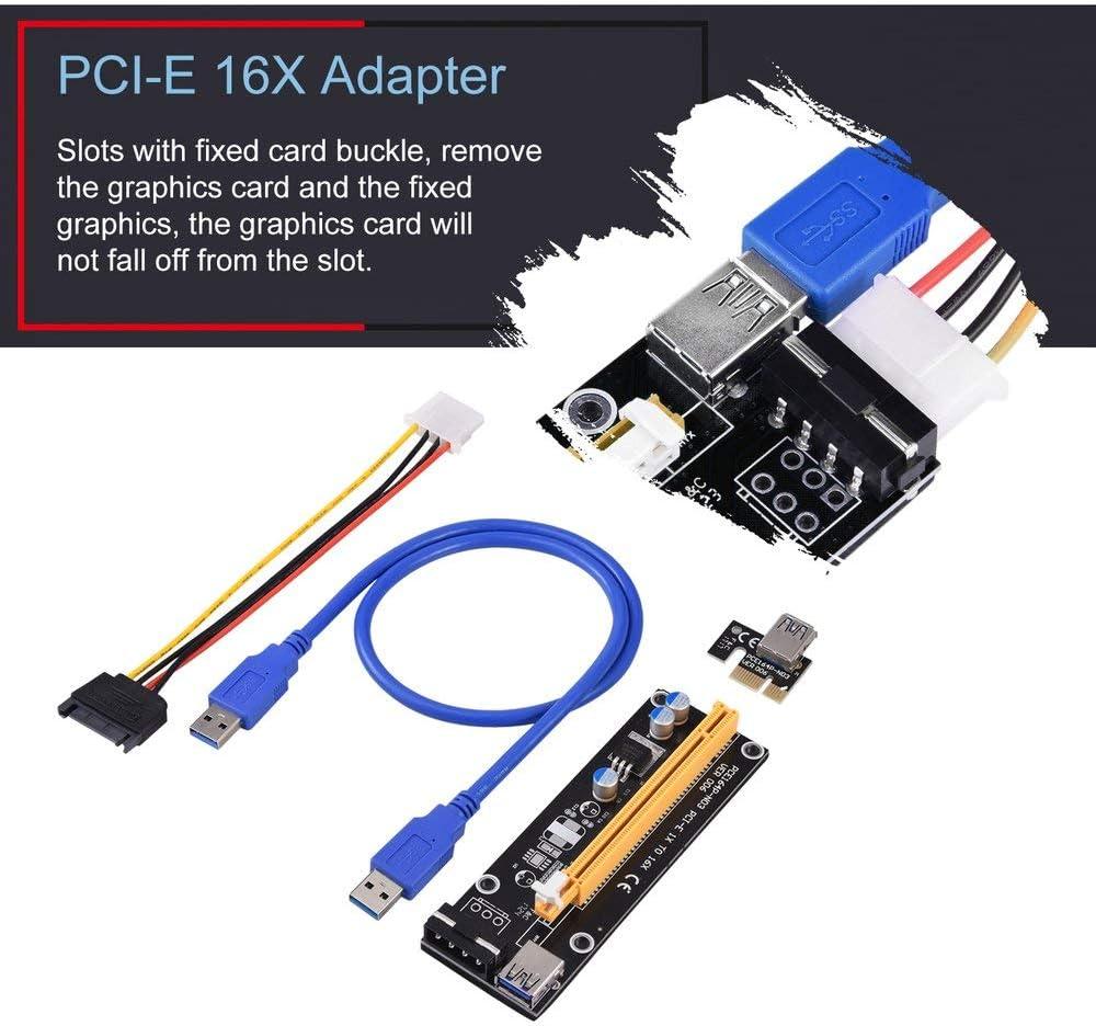 UnitedCAheart Pci-Express Pci-E 16X Extender Riser Karte USB 3.0 Sata 15P-4Pin Adapter Slots with Fixed Card Buckle Portable Pci-E 16X Adapter