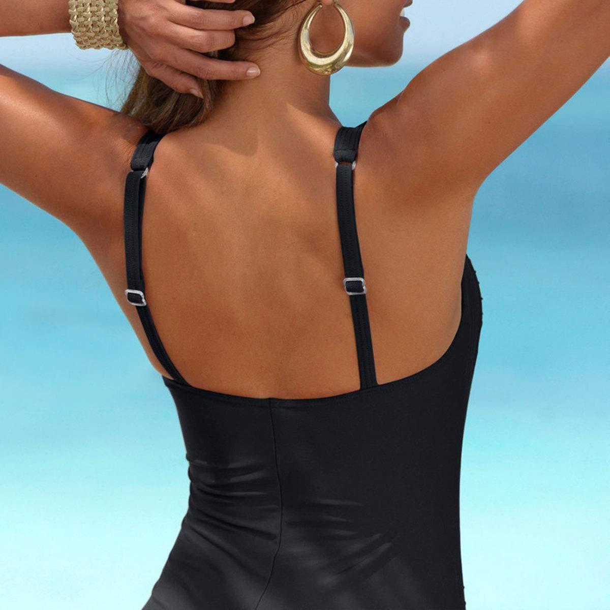 Sporzin Damen Badeanzug Push up Badeanzug Figurformender One Piece Bademode Neckholder Bademode Retro Shape Badeanzug