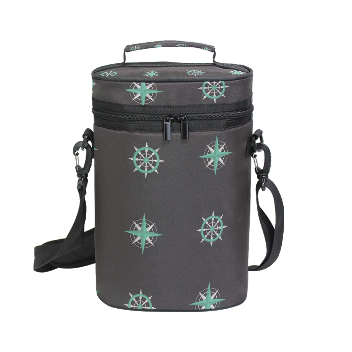 Coosun Sac de transport isotherme pour bouteille de vin avec poignée et bandoulière réglable Motif marin