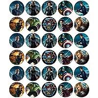 30 obleas comestibles para cupcakes, diseño de Los Vengadores de Marvel
