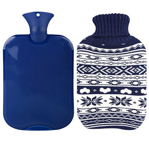 Premium clásica agua caliente transparente botella con lindo tejer cubierta (2L, Marina de guerra / copo de nieve)