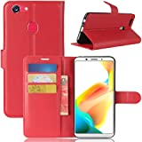 for Oppo A73 / F5 Wallet Leather Card Holder Flip PU Case Cover (Red)