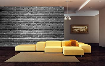 999store Black Brick Wall Leather Wallpaper Wall Murals For