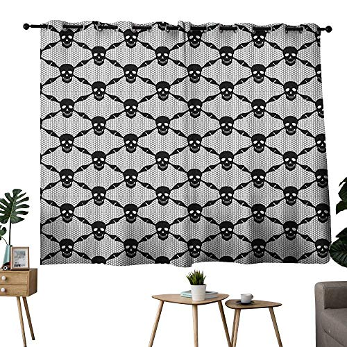 Gothic Grommets Decoration Darkening Curtains Halloween Horror Theme Spooky Black Skulls Checkered Pattern with Skeleton Bones Set of 2 Panels Black White W63 x L63