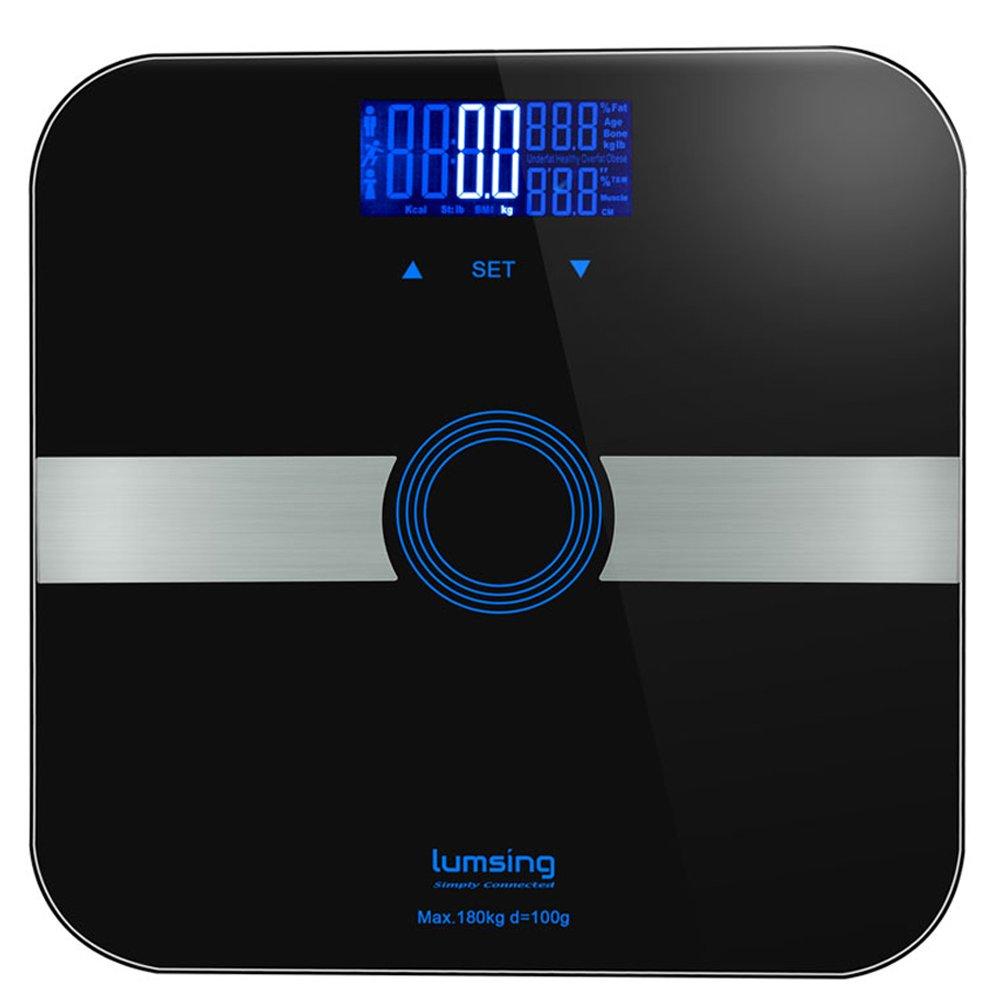 Báscula de grasa corporal, con plataforma de cristal templado delgado, 180 kg, mide peso, grasa corporal, BMI, agua, músculo, negro.