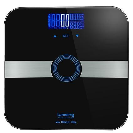 Báscula de grasa corporal, con plataforma de cristal templado delgado, 180 kg, mide