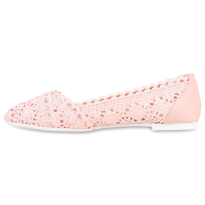 Bequeme Damen Flats Klassische Ballerinas Spitze Ballerina Slipper Spitze-Häkeloptik Schuhe 116421 Rosa 36 Flandell pryQziHjc