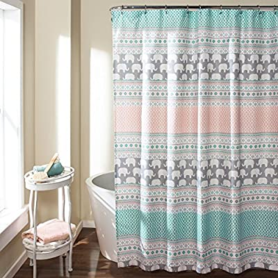 Lush Decor Elephant Stripe Shower Curtain - Dimensions: 72L x 72W in. Made of 100% polyester Adorable elephants and stripes pattern - shower-curtains, bathroom-linens, bathroom - 615vLT1JtFL. SS400  -