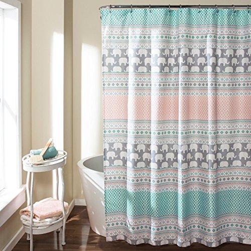 615vLT1JtFL - Lush Decor Elephant Stripe Shower Curtain