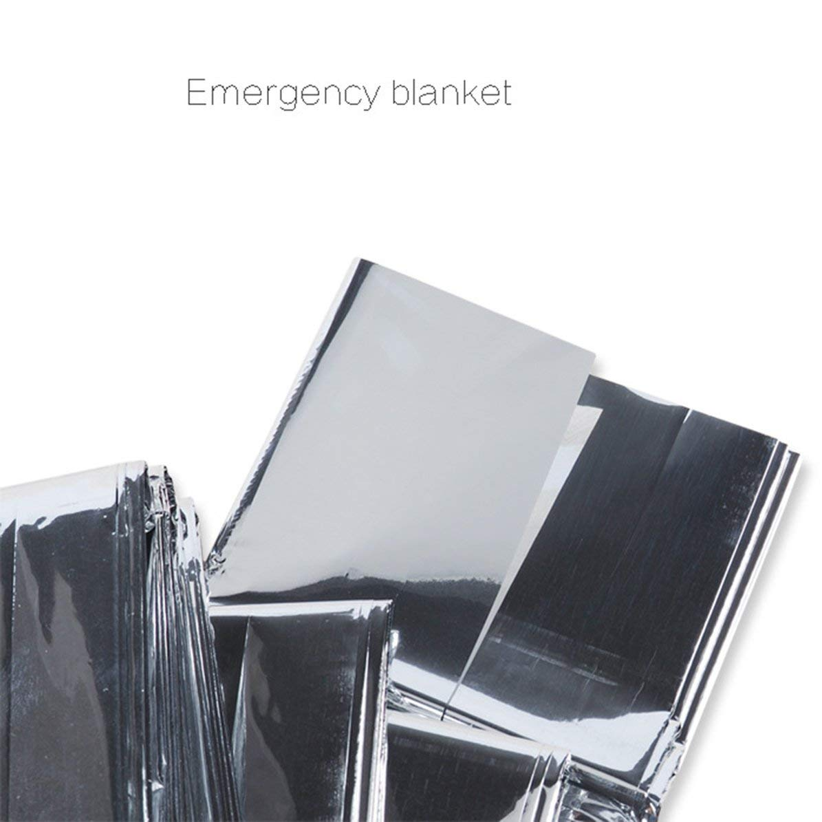 WEIWEITOE Waterproof Disposable Outdoor Military Survival Emergency Rescue Space Thermal Blanket First Aid Sliver Curtain,silver,