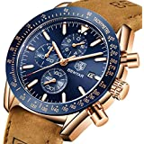 BENYAR Waterproof Chronograph Men Watches Fashion Casual Leather Band Strap Wrist Watch (Brown Blue)