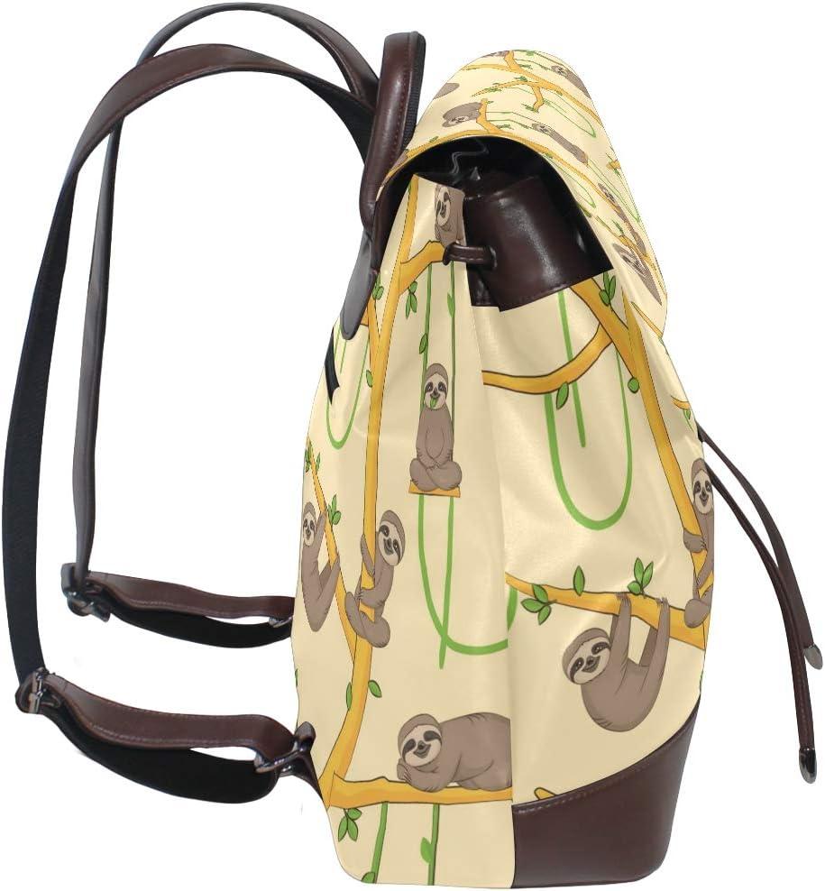 Cute Sloth Backpack PU Leather School Shoulder Bag Rucksack for Women Girls Ladies Backpack Travel Bag