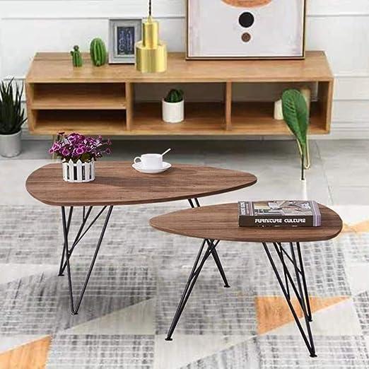 GOLDFAN Juego de Mesa de café de Madera con Patas de Metal curvadas, 2 mesas, sofá Triangular, Mesa Auxiliar de café con Patas de Metal curvadas, Muebles de Oficina: Amazon.es: Hogar