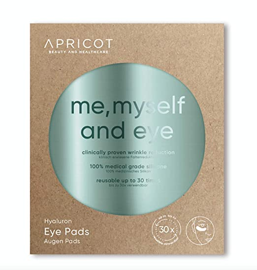 NEW! Silicone care Eye Pads enriched with highly effective Hyaluron! Reusable Siliconepads, original APRICOT product made in Germany! clinically ...