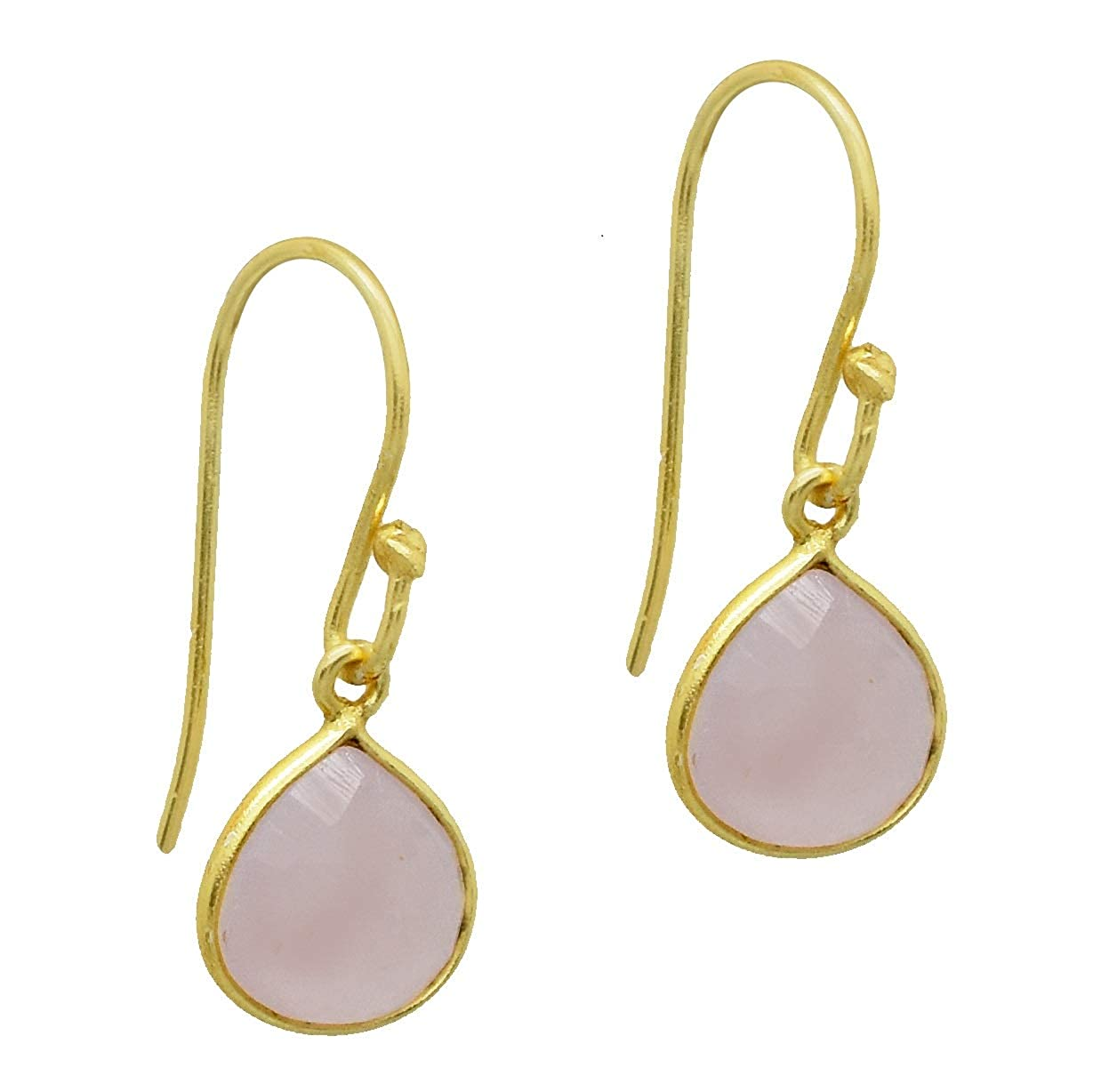 The V Collection earrings yellow gold plated faceted rose quartz tabiz dangling earrings for women and girls