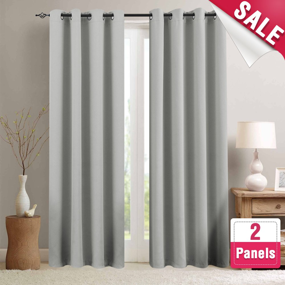 Moderate Blackout Curtains for Bedroom 95 inches Long Light Reducing Window Curtain Panels