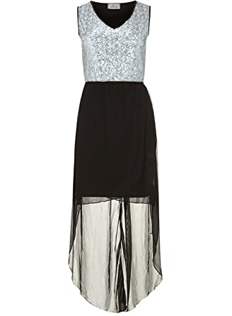 2375636535e silver sequin top high low dress