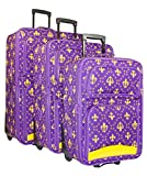 Ever Moda Fleur-de-Lis 3-Piece Luggage Set