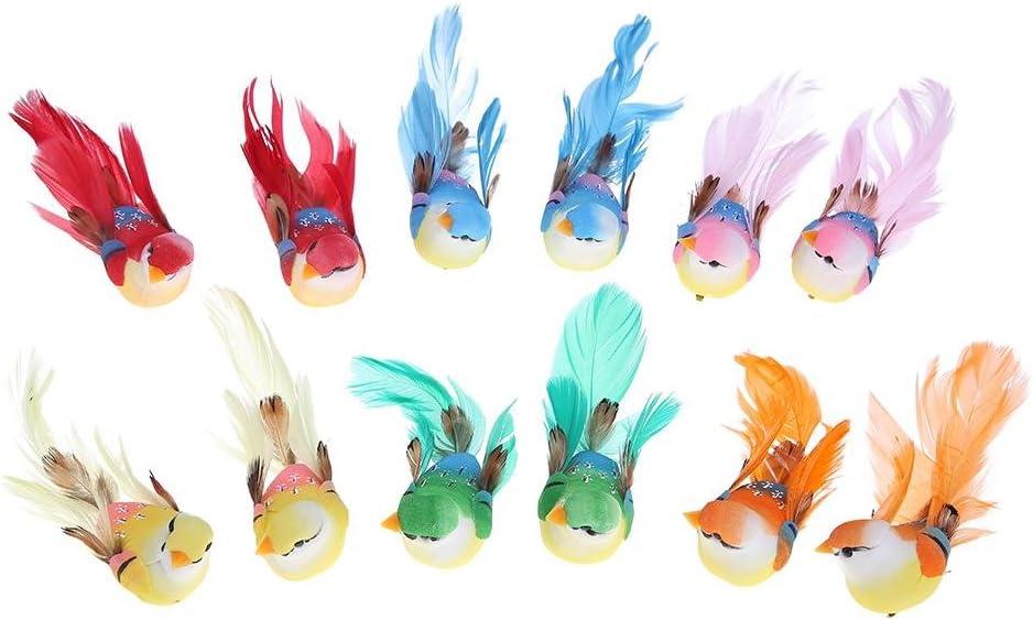 12 pájaros de espuma y plumas artificiales para decoración del hogar o plantas de jardín, ideal para manualidades, Everpert
