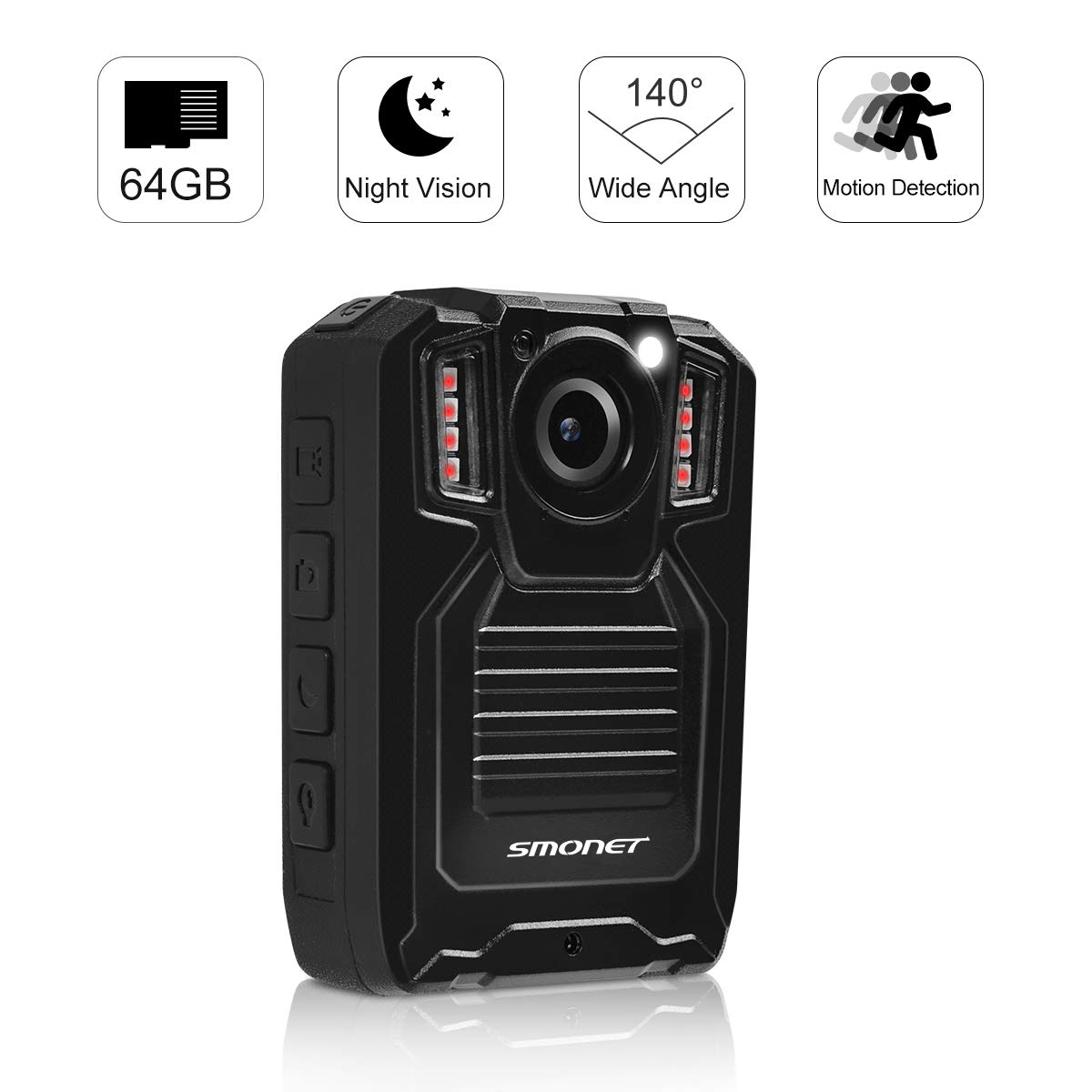 SMONET 【2019 New】 Body Camera with Audio, HD Police Body Camera(Built in 64GB),2 Inch Display Body Cameras for Law Enforcement, Body Worn Camera with Night Vision,Video Recorder,Waterproof by SMONET (Image #1)