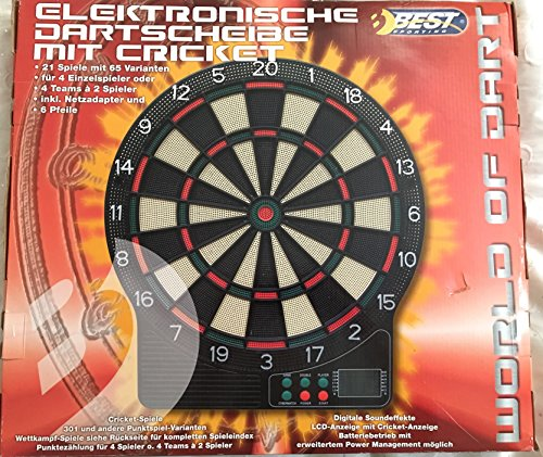 Best Sporting Electronic Dartboard Q6-89C with Cricket - 65 game variants by Best Sporting