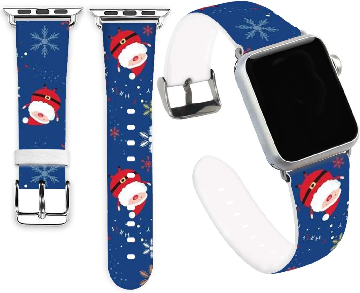 Claus Bands Compatible for iWatch 42mm 44mm,Jolook Soft Leather Sport Style Replacement Band Strap Compatible with Apple Watch 44mm 42mm Series 6/5/4/3/2/1 - Cute Santa Claus