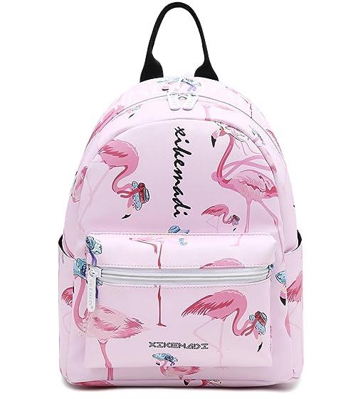 Amazon.com | Women Cute Mini Pink Flamingo Backpack PU Leather ...