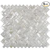 Genuine Mother of Pearl Oyster Herringbone Shell Mosaic Tile for Kitchen Backsplashes, Bathroom Walls, Spas, Pools by Vogue Tile (Pack of 5 Sheets)
