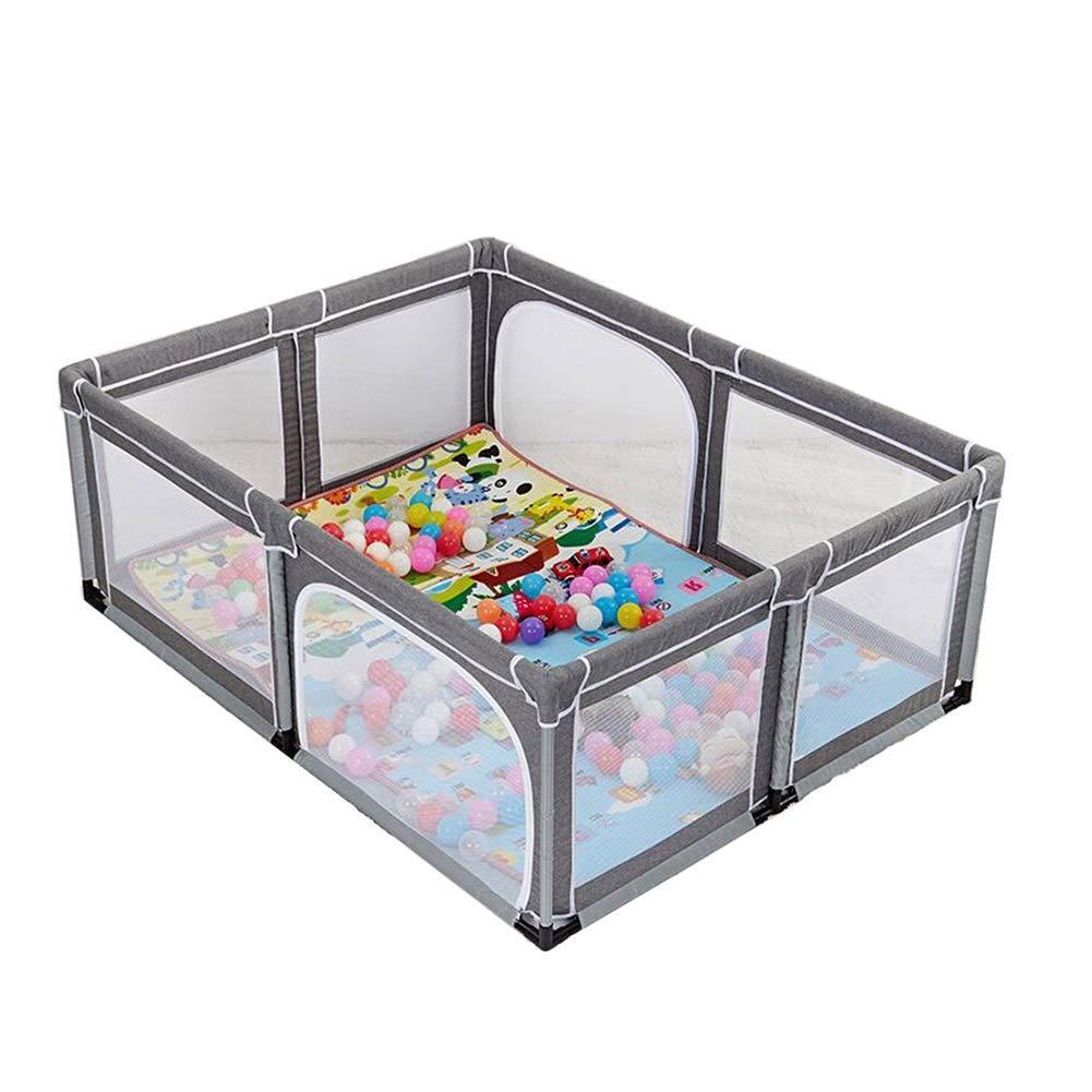 灰色の赤ん坊の遊び場、幼児の安全滑り止め、保育園の家庭用大型ゲームフェンス、耐久性のある衝突防止、150×190×70 cm   B07P8C6Q5W